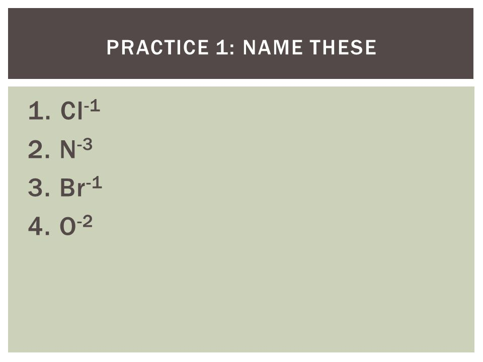 PRACTICE 1: NAME THESE 1. Cl -1 2. N -3 3. Br -1 4. O -2