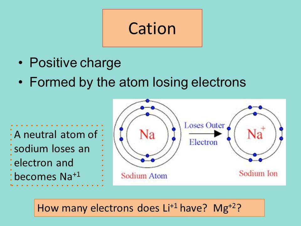 Cation Positive charge Formed by the atom losing electrons A neutral atom of sodium loses an electron and becomes Na +1 How many electrons does Li +1