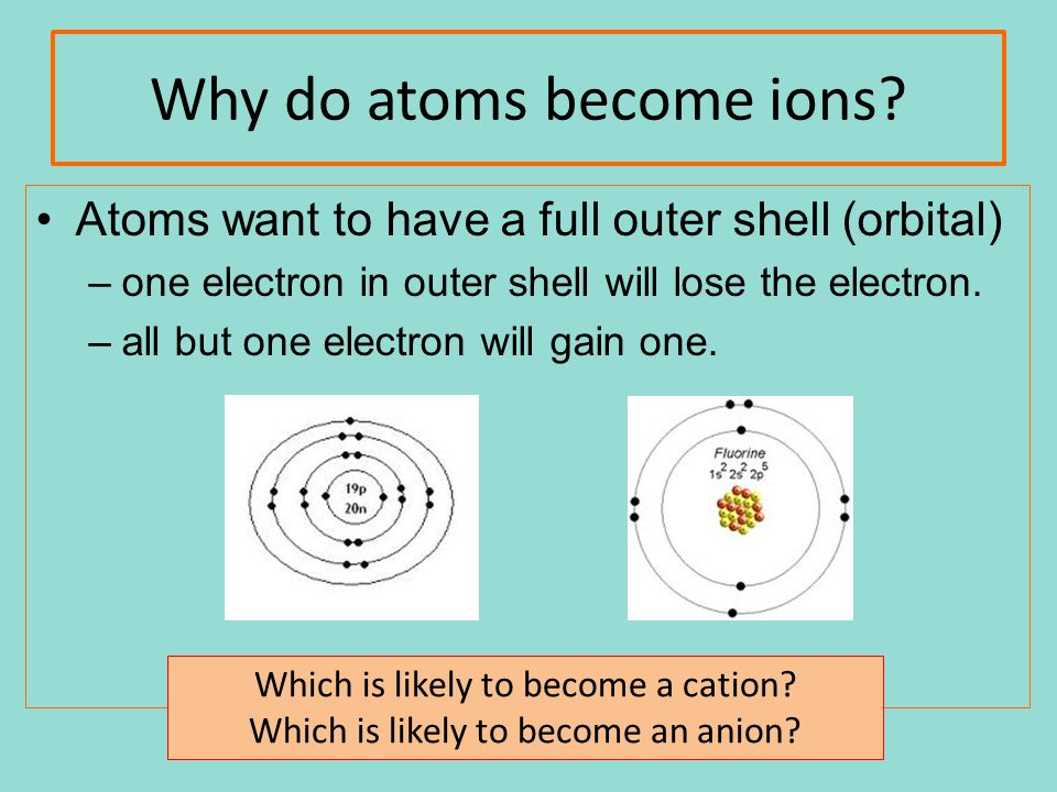 Why do atoms become ions? Atoms want to have a full outer shell (orbital) –one electron in outer shell will lose the electron. –all but one electron w