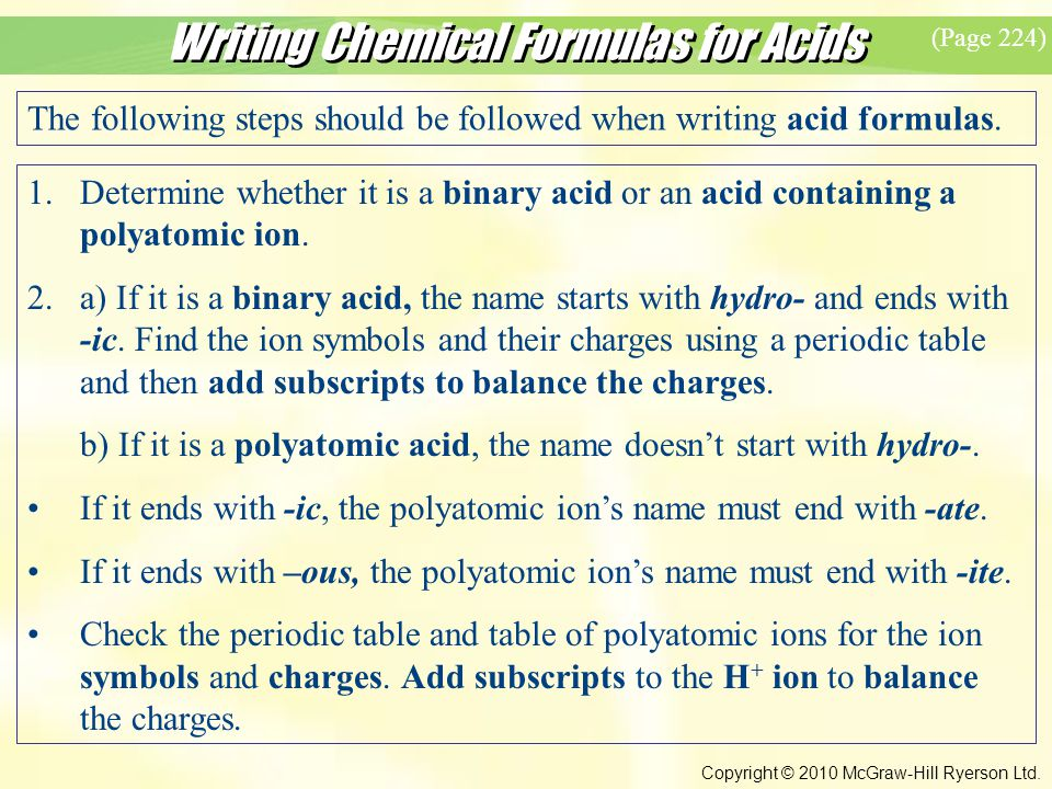 Writing Chemical Formulas for Acids Copyright © 2010 McGraw-Hill Ryerson Ltd.