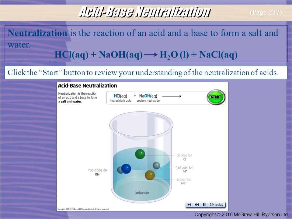 Acid-Base Neutralization Neutralization is the reaction of an acid and a base to form a salt and water. HCl(aq) + NaOH(aq) H 2 O (l) + NaCl(aq) Click