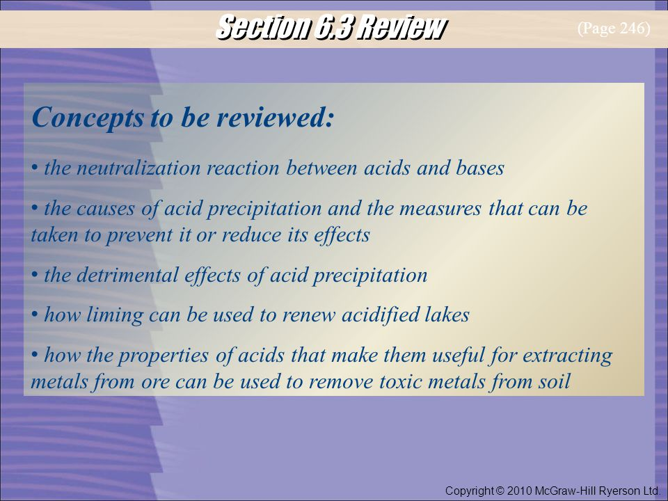 Section 6.3 Review Copyright © 2010 McGraw-Hill Ryerson Ltd.