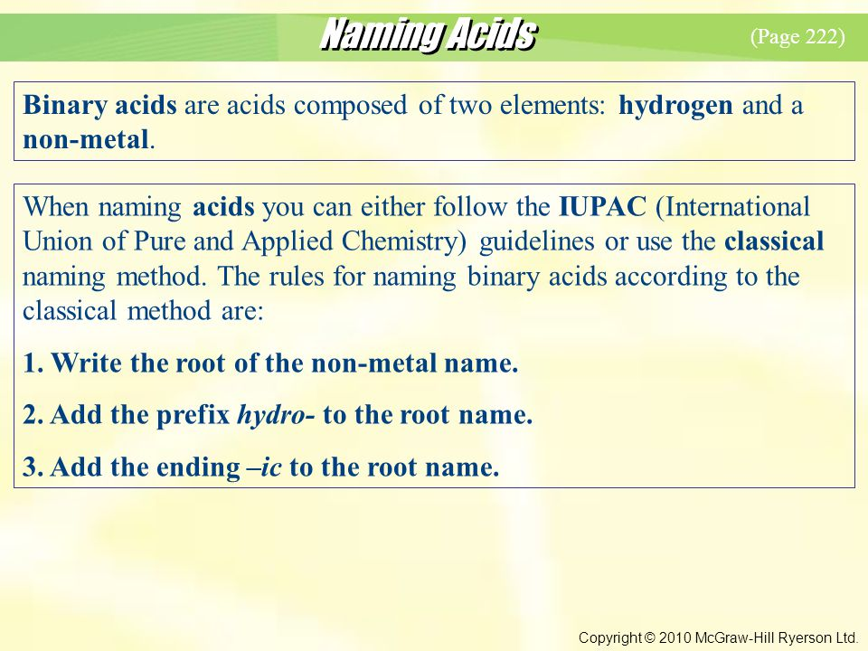 Naming Acids Copyright © 2010 McGraw-Hill Ryerson Ltd.