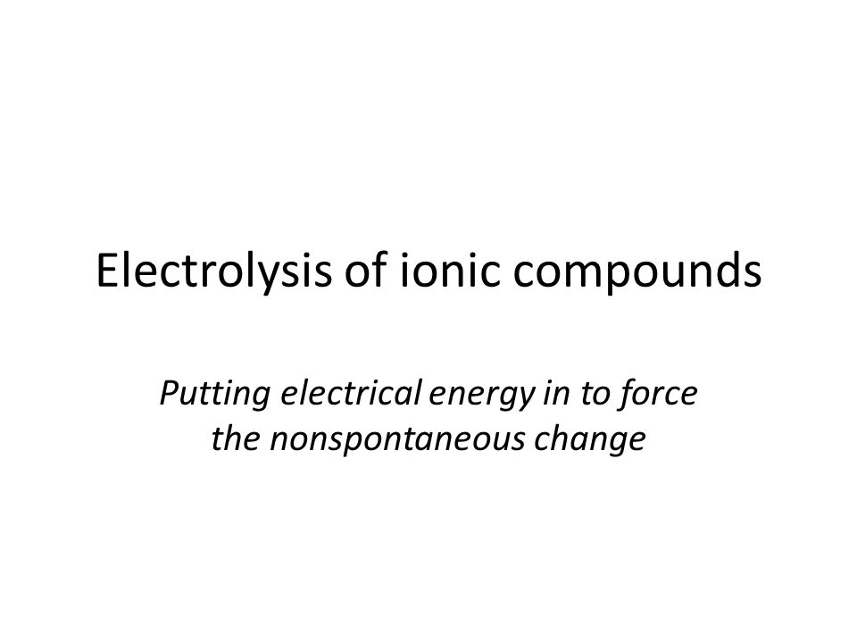 electrolysis Opposite process to electrochemical (voltaic) cells Electrical energy is put into the reaction The nonspontaneous reactions occur Useful industrial process for the production of reduced metals electroplating