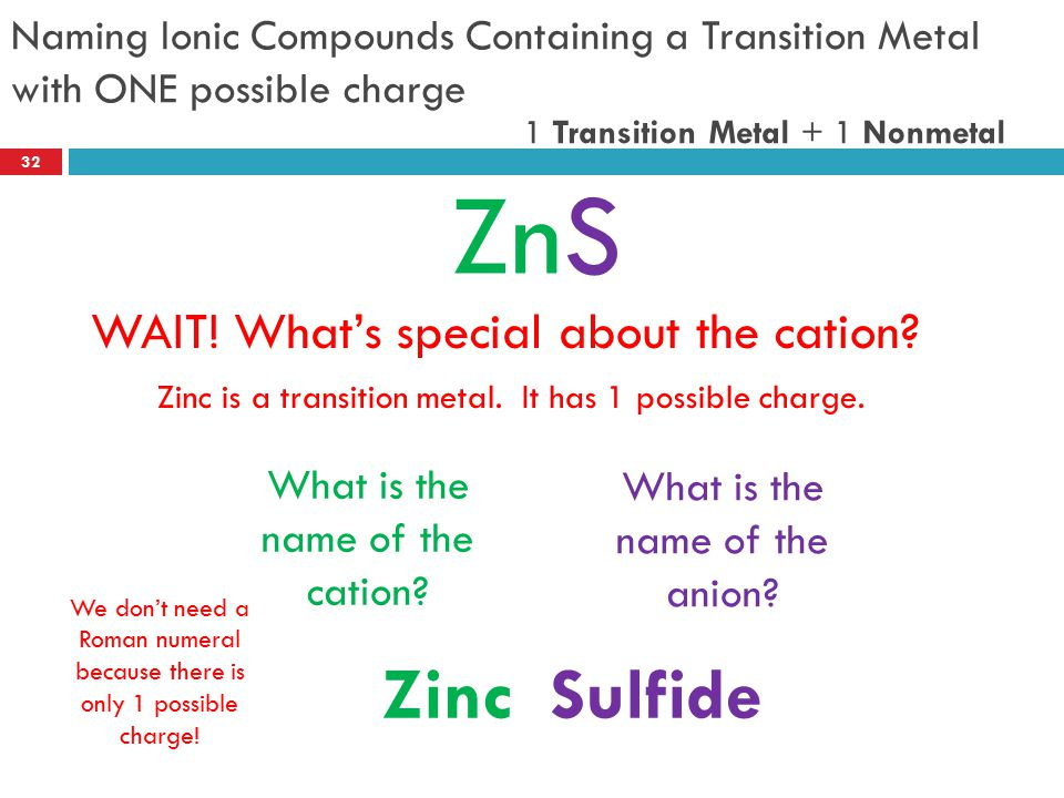 Naming Ionic Compounds Containing a Transition Metal with ONE possible charge ZnS What is the name of the cation? What is the name of the anion? ZincS