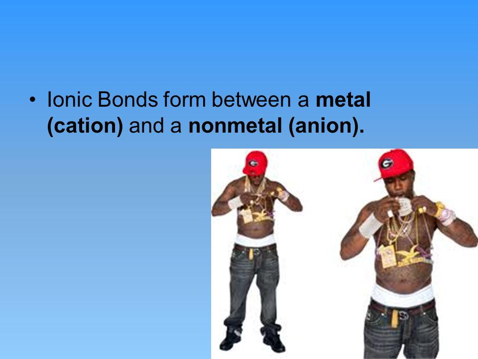 Ionic Bonds form between a metal (cation) and a nonmetal (anion).