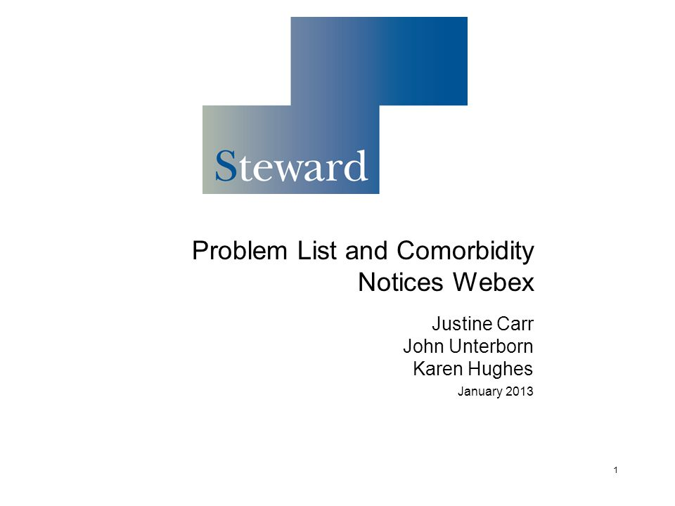 Problem List and Comorbidity Notices Webex Justine Carr John Unterborn Karen Hughes January 2013 1