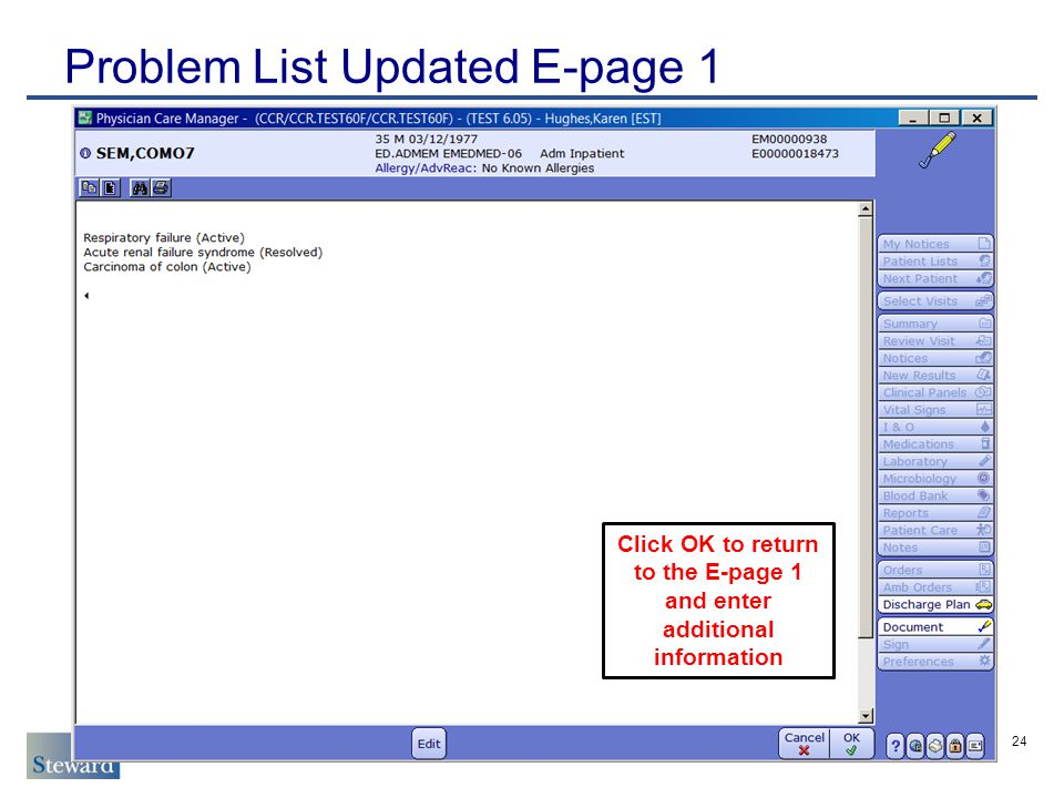 Problem List Updated E-page 1 24 Click OK to return to the E-page 1 and enter additional information