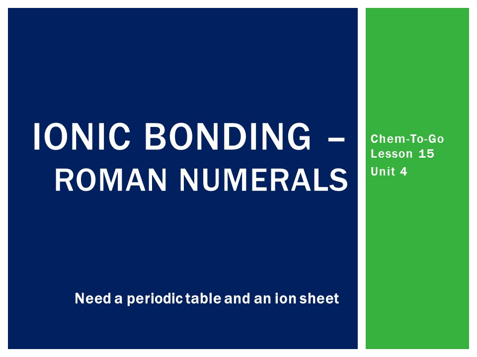 Chem-To-Go Lesson 15 Unit 4 IONIC BONDING – ROMAN NUMERALS Need a periodic table and an ion sheet