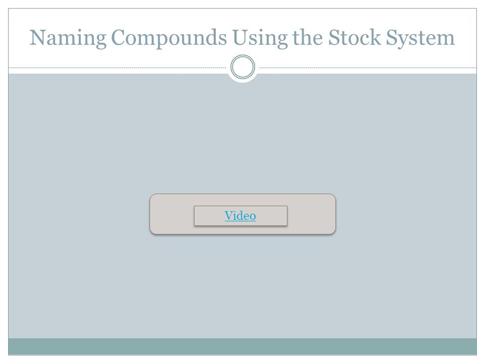 Naming Compounds Using the Stock System Video