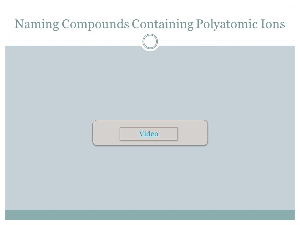 Naming Compounds Containing Polyatomic Ions Video