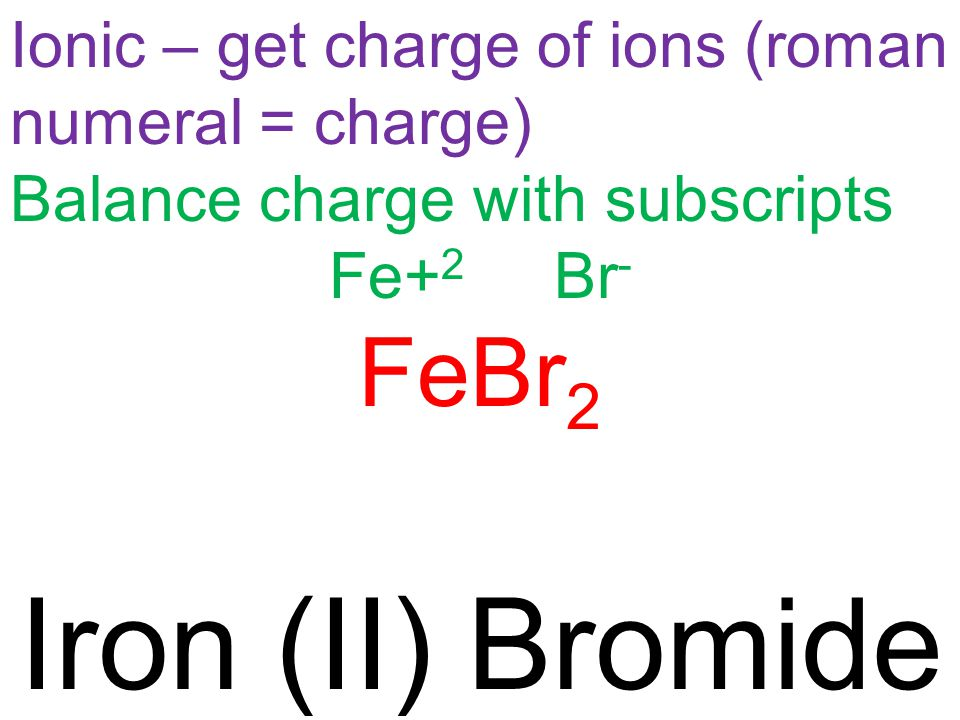 Ionic – get charge of ions (roman numeral = charge) Balance charge with subscripts Fe+ 2 Br - FeBr 2