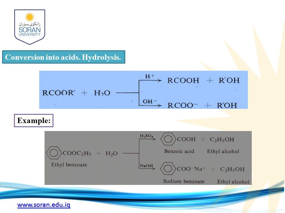 www.soran.edu.iq Conversion into acids. Hydrolysis. Example: