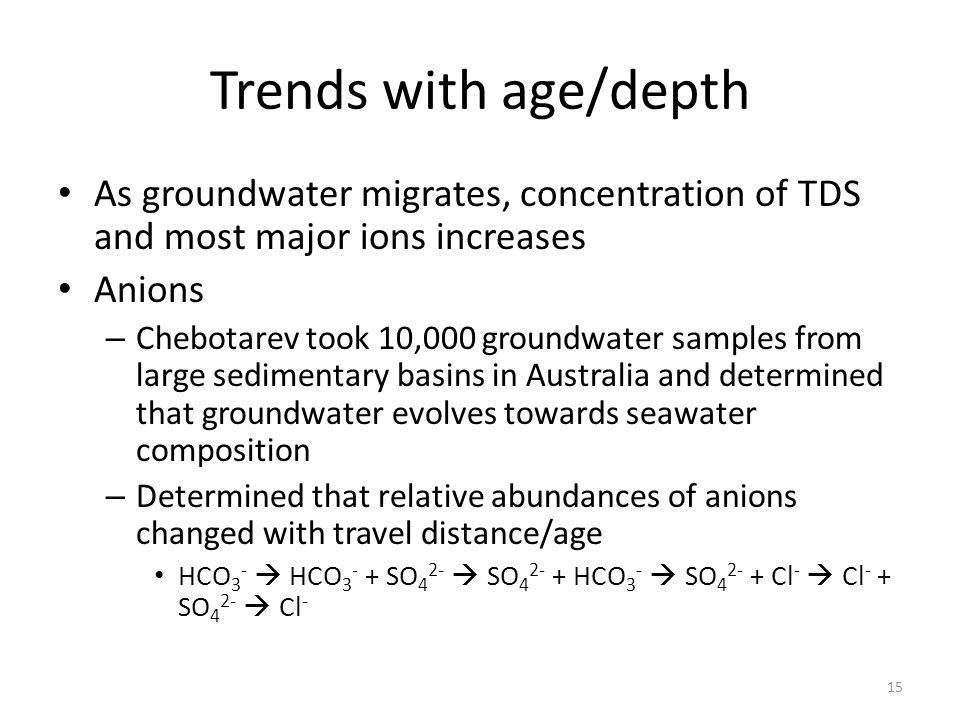 Trends with age/depth As groundwater migrates, concentration of TDS and most major ions increases Anions – Chebotarev took 10,000 groundwater samples from large sedimentary basins in Australia and determined that groundwater evolves towards seawater composition – Determined that relative abundances of anions changed with travel distance/age HCO 3 -  HCO 3 - + SO 4 2-  SO 4 2- + HCO 3 -  SO 4 2- + Cl -  Cl - + SO 4 2-  Cl - 15