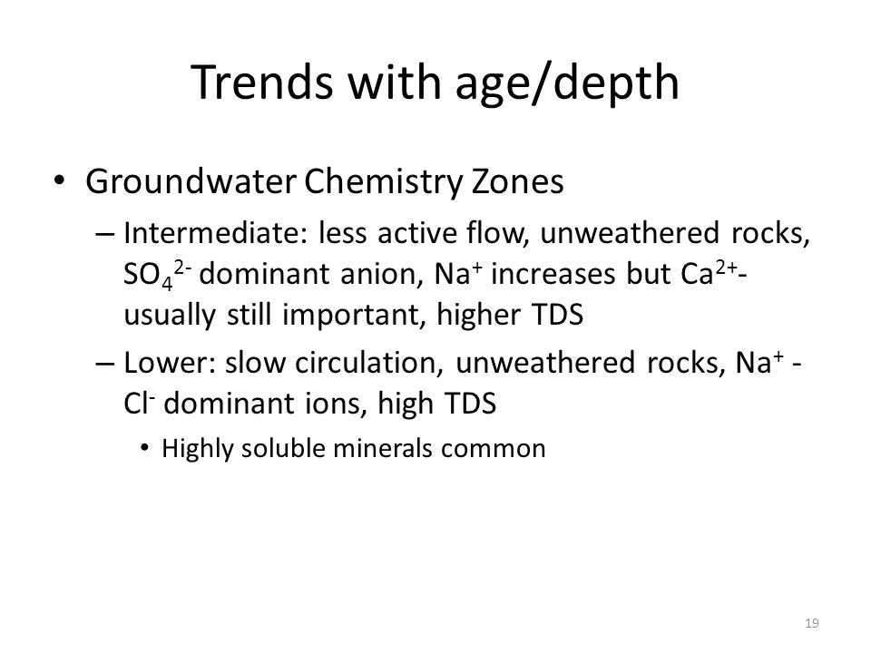 Trends with age/depth Groundwater Chemistry Zones – Intermediate: less active flow, unweathered rocks, SO 4 2- dominant anion, Na + increases but Ca 2+ - usually still important, higher TDS – Lower: slow circulation, unweathered rocks, Na + - Cl - dominant ions, high TDS Highly soluble minerals common 19