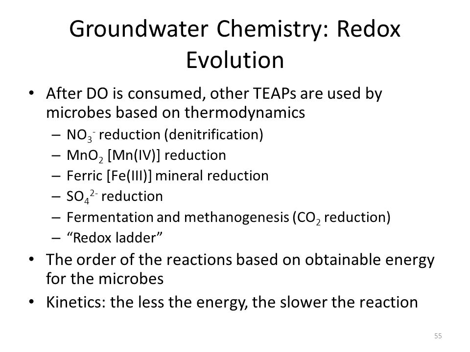 Groundwater Chemistry: Redox Evolution After DO is consumed, other TEAPs are used by microbes based on thermodynamics – NO 3 - reduction (denitrification) – MnO 2 [Mn(IV)] reduction – Ferric [Fe(III)] mineral reduction – SO 4 2- reduction – Fermentation and methanogenesis (CO 2 reduction) – Redox ladder The order of the reactions based on obtainable energy for the microbes Kinetics: the less the energy, the slower the reaction 55