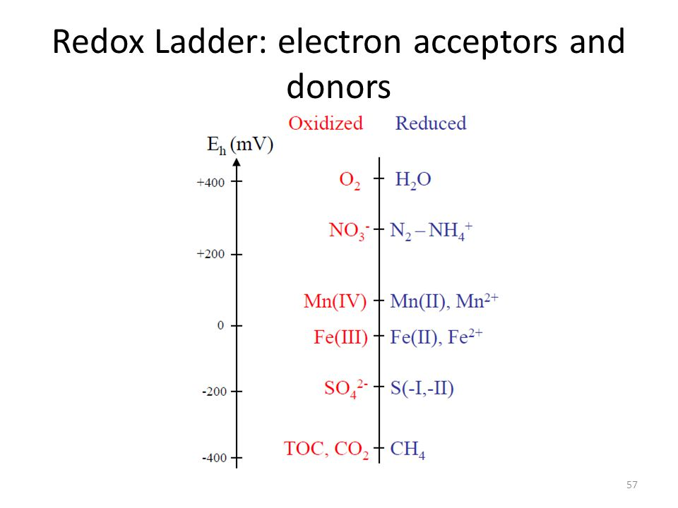 Redox Ladder: electron acceptors and donors 57