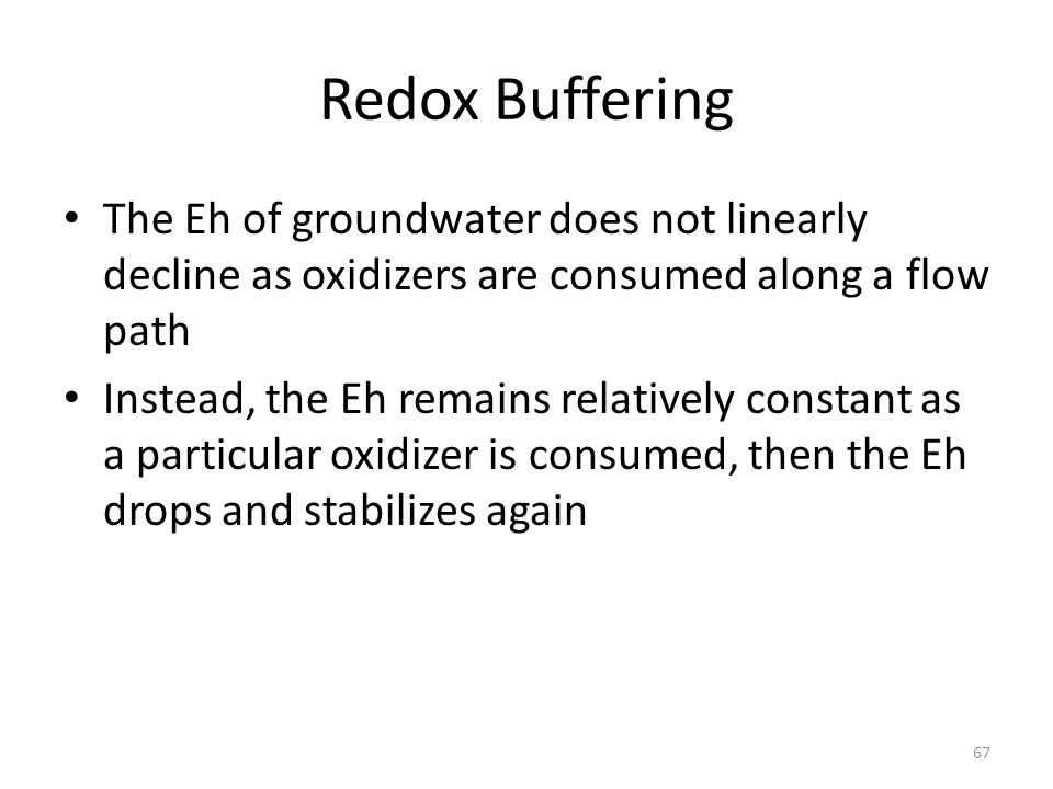 Redox Buffering The Eh of groundwater does not linearly decline as oxidizers are consumed along a flow path Instead, the Eh remains relatively constant as a particular oxidizer is consumed, then the Eh drops and stabilizes again 67