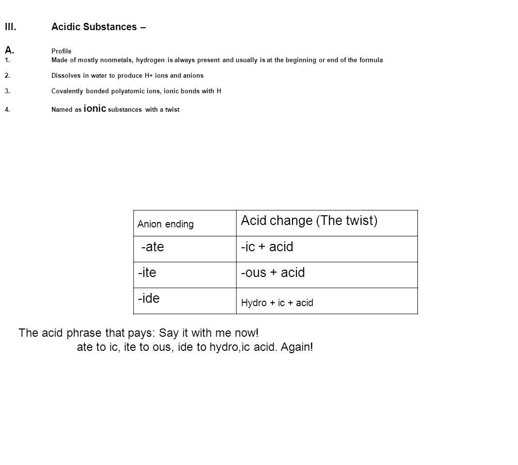 III.Acidic Substances – A.