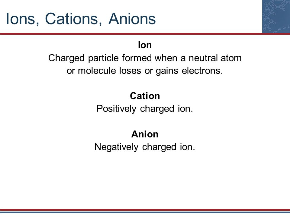 Ions, Cations, Anions Ion Charged particle formed when a neutral atom or molecule loses or gains electrons. Cation Positively charged ion. Anion Negat