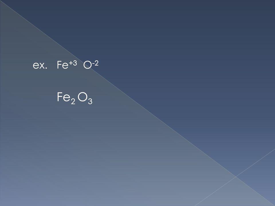 ex. Fe +3 O -2 Fe 2 O 3