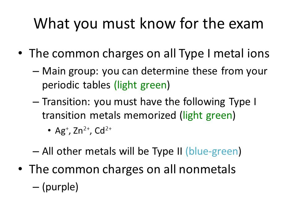 The common charges on all Type I metal ions – Main group: you can determine these from your periodic tables (light green) – Transition: you must have the following Type I transition metals memorized (light green) Ag +, Zn 2+, Cd 2+ – All other metals will be Type II (blue-green) The common charges on all nonmetals – (purple)