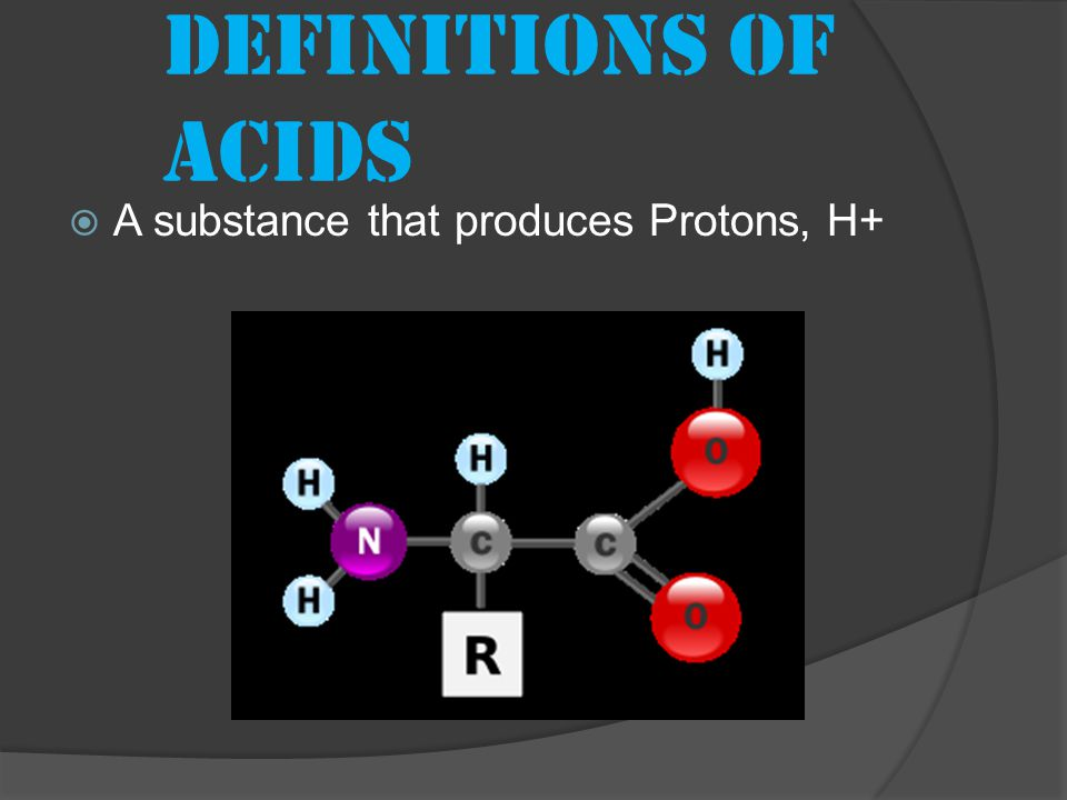 Definitions of acids  A substance that produces Protons, H+