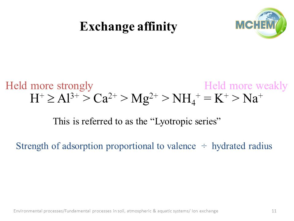Exchange affinity Held more stronglyHeld more weakly This is referred to as the Lyotropic series H +  Al 3+ > Ca 2+ > Mg 2+ > NH 4 + = K + > Na + Strength of adsorption proportional to valence ÷ hydrated radius 11Environmental processes/Fundamental processes in soil, atmospheric & aquatic systems/ Ion exchange