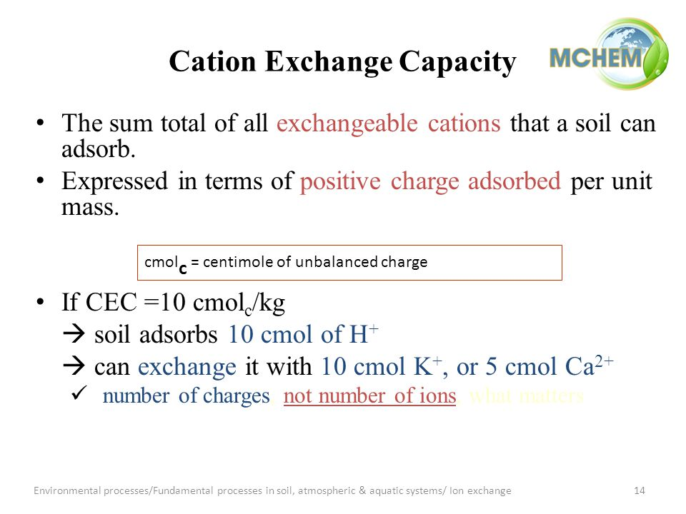 Cation Exchange Capacity The sum total of all exchangeable cations that a soil can adsorb.