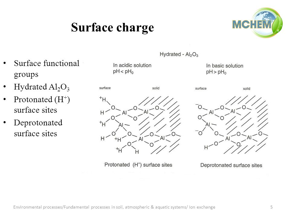 Surface charge Surface functional groups Hydrated Al 2 O 3 Protonated (H + ) surface sites Deprotonated surface sites 5Environmental processes/Fundamental processes in soil, atmospheric & aquatic systems/ Ion exchange