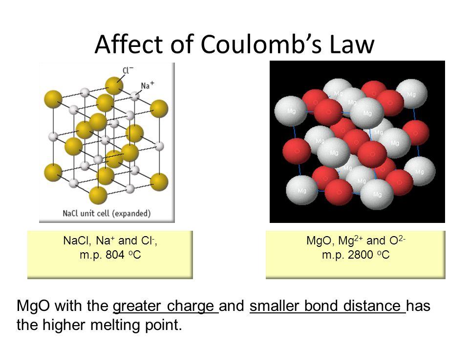 NaCl, Na + and Cl -, m.p. 804 o C MgO, Mg 2+ and O 2- m.p.