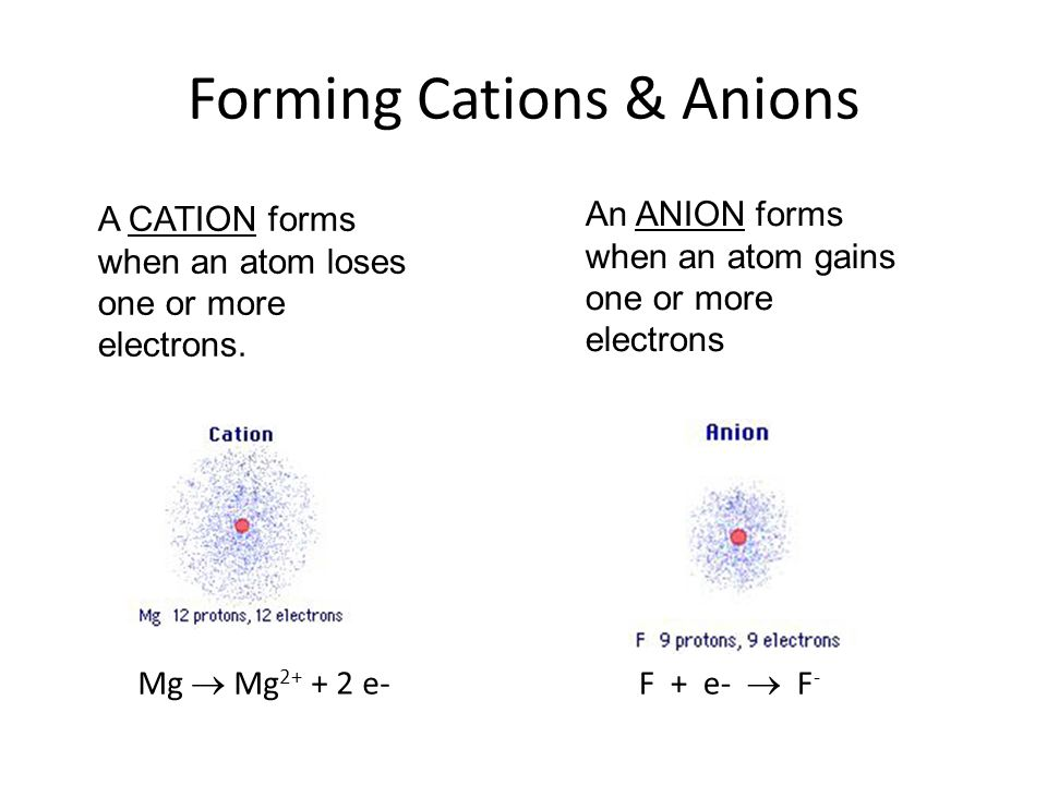 In general (Mg) lose electrons metals (Mg) lose electrons forming cations (F) gain electrons nonmetals (F) gain electrons forming anions Predicting Ion Charges