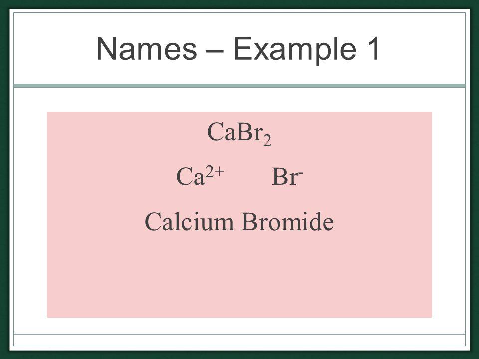 Names – Example 1 CaBr 2 Ca 2+ Br - Calcium Bromide