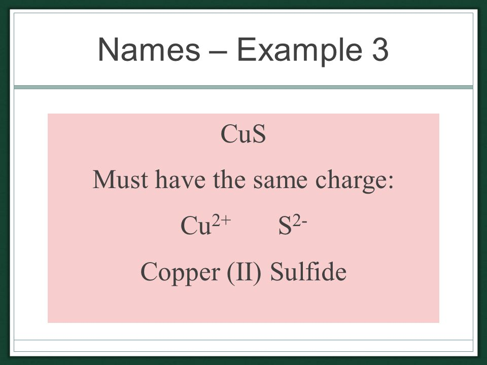 Names – Example 3 CuS Must have the same charge: Cu 2+ S 2- Copper (II) Sulfide