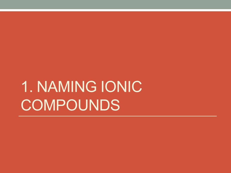 Ionic Compound: Composed of ions Cations & Anions Metals & Nonmetals Cations: + charge Metals + Polyatomic Ions Anions: - charge Nonmetals - Polyatomic Ions