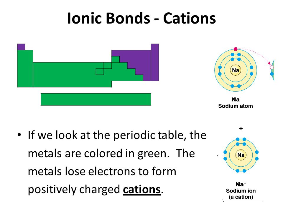Ionic Bonds - Cations If we look at the periodic table, the metals are colored in green.