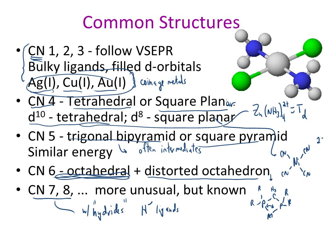 Common Structures CN 1, 2, 3 - follow VSEPR Bulky ligands, filled d-orbitals Ag(I), Cu(I), Au(I) CN 4 - Tetrahedral or Square Planar d 10 - tetrahedra