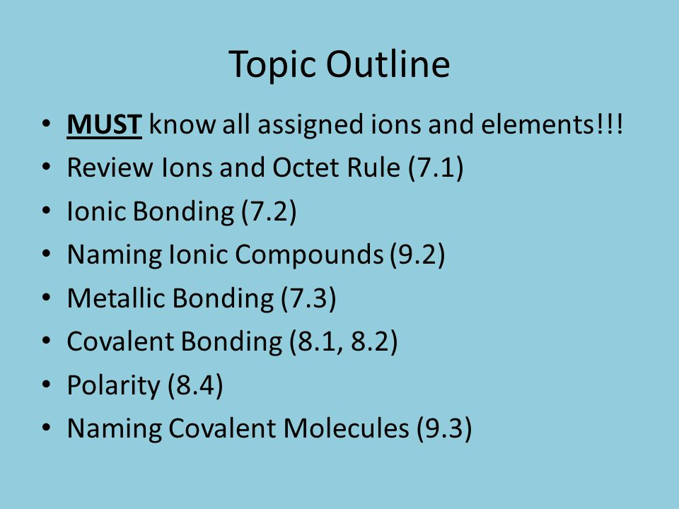 Topic Outline MUST know all assigned ions and elements!!.