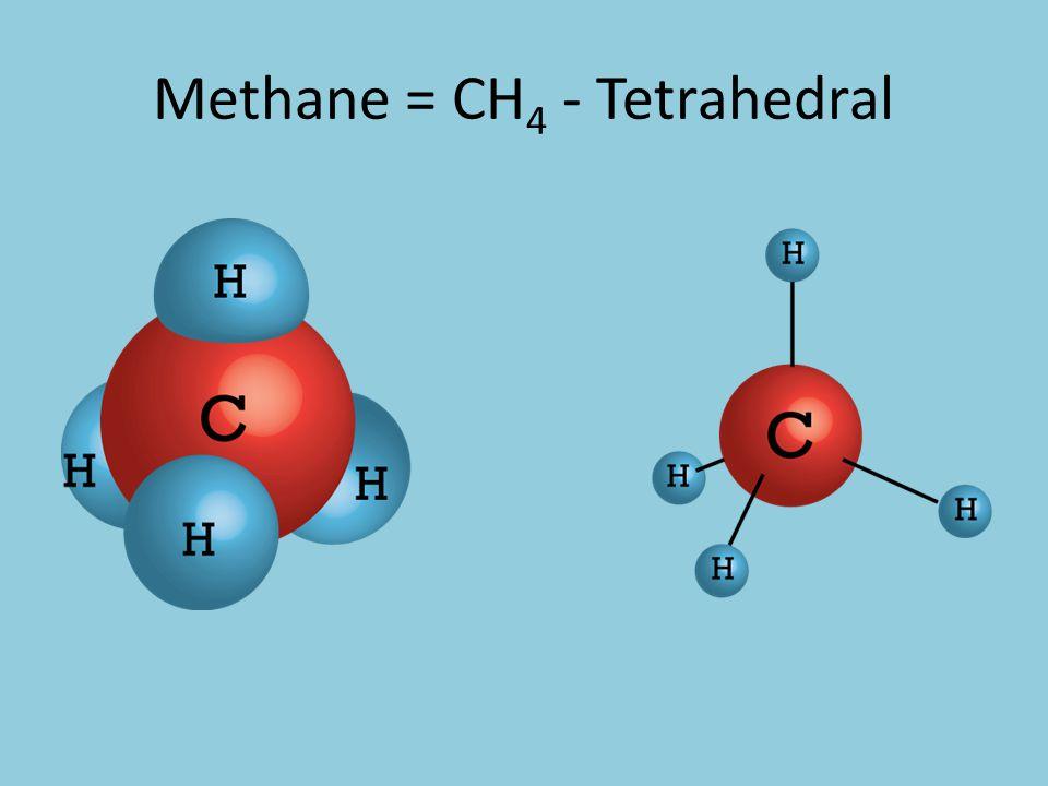 Methane = CH 4 - Tetrahedral