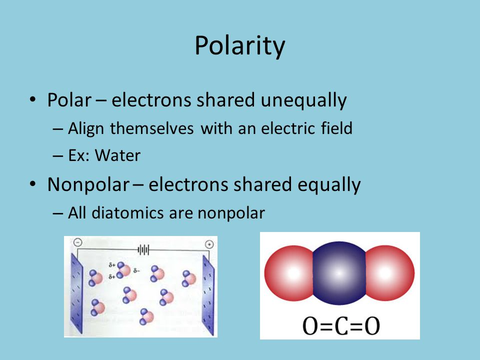 Polarity Polar – electrons shared unequally – Align themselves with an electric field – Ex: Water Nonpolar – electrons shared equally – All diatomics are nonpolar