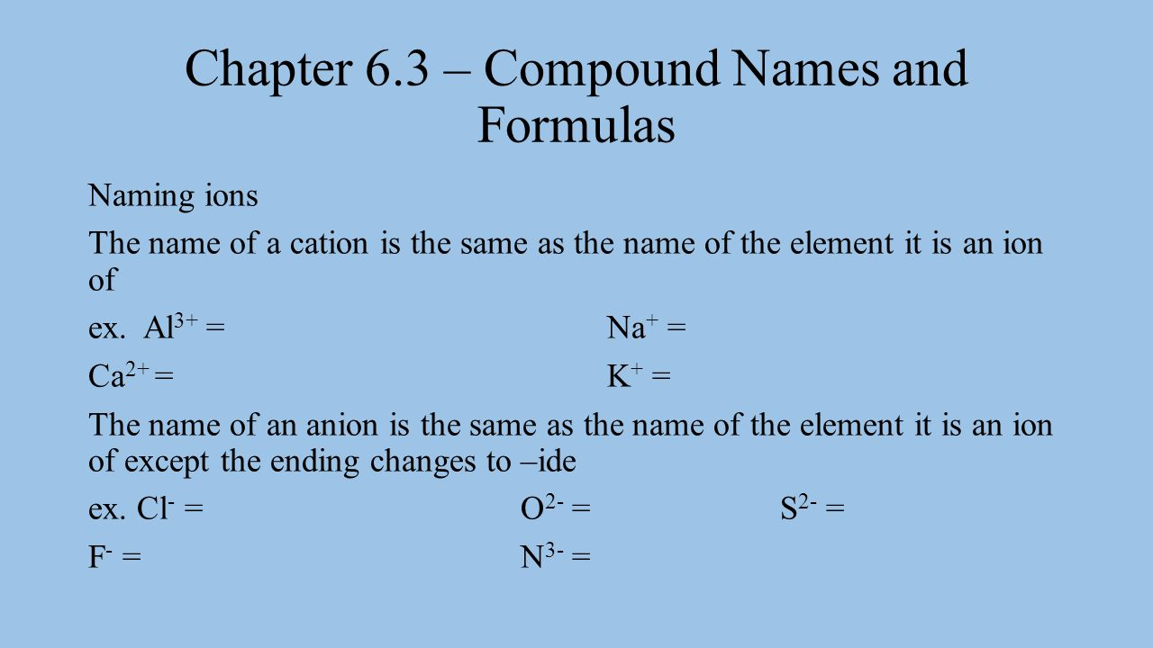 Chapter 6.3 – Compound Names and Formulas When naming ionic compounds there are 3 rules to follow: 1.Write the name of the cation first followed by the name of the anion.