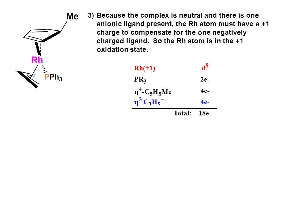 3) Because the complex is neutral and there is one anionic ligand present, the Rh atom must have a +1 charge to compensate for the one negatively charged ligand.