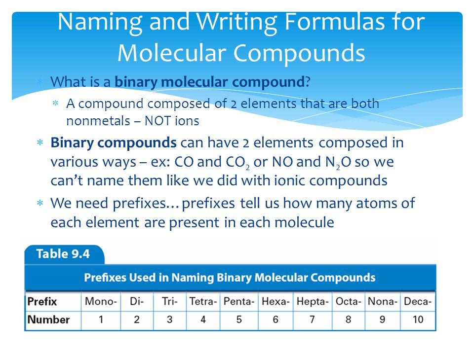  What is a binary molecular compound?  A compound composed of 2 elements that are both nonmetals – NOT ions  Binary compounds can have 2 elements c