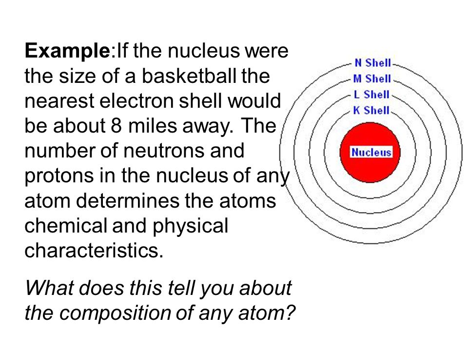 Example:If the nucleus were the size of a basketball the nearest electron shell would be about 8 miles away.