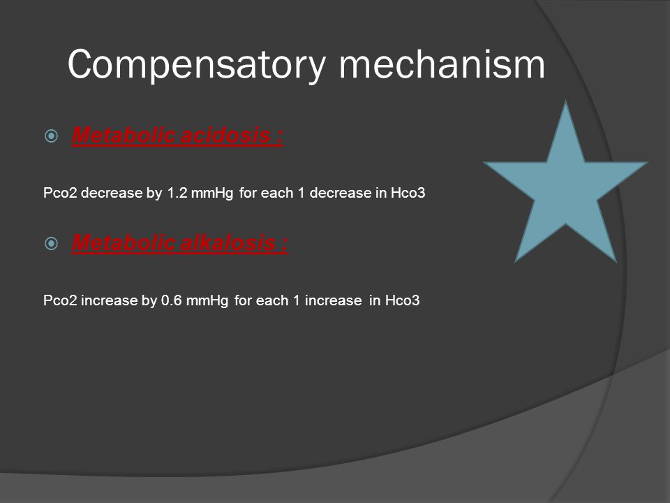 Compensatory mechanism  Metabolic acidosis : Pco2 decrease by 1.2 mmHg for each 1 decrease in Hco3  Metabolic alkalosis : Pco2 increase by 0.6 mmHg for each 1 increase in Hco3