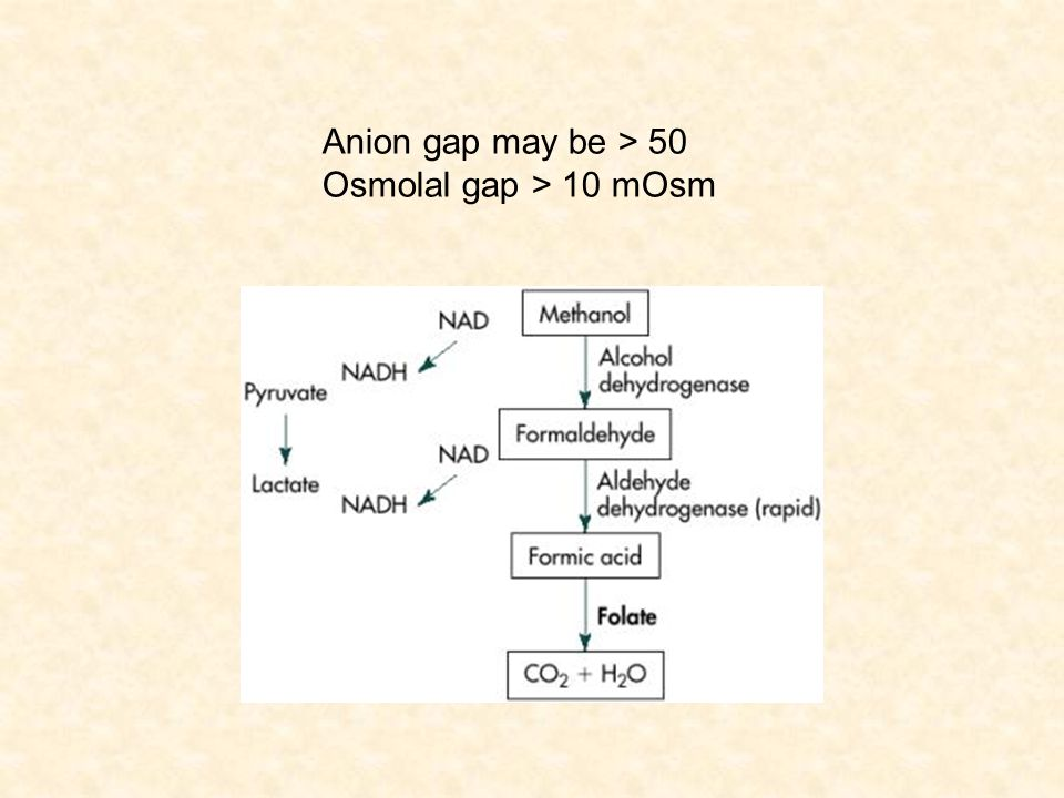 Anion gap may be > 50 Osmolal gap > 10 mOsm