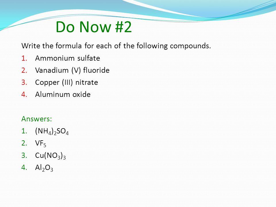 Formula writing Al +3 Cl -1 Al 1 Cl 3 = AlCl 3 Sodium chloride Calcium chloride Ionic Compound subscripts must be reduced Ti +4 O -2 Sn +2 O -2 Ti 2 O 4 reduces to TiO 2 Sn 2 O 2 reduces to SnO NaCl CaCl 2