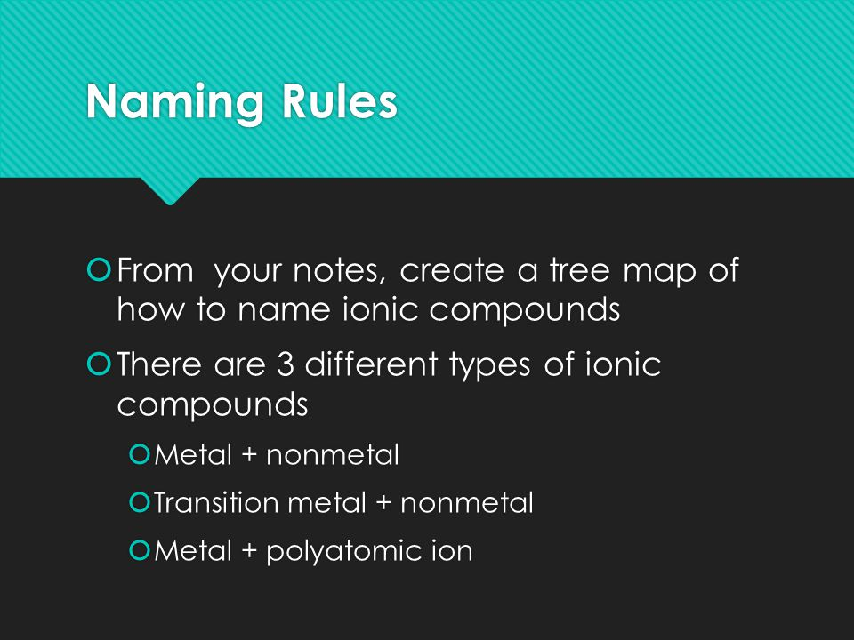 Naming Rules  From your notes, create a tree map of how to name ionic compounds  There are 3 different types of ionic compounds  Metal + nonmetal  Transition metal + nonmetal  Metal + polyatomic ion  From your notes, create a tree map of how to name ionic compounds  There are 3 different types of ionic compounds  Metal + nonmetal  Transition metal + nonmetal  Metal + polyatomic ion