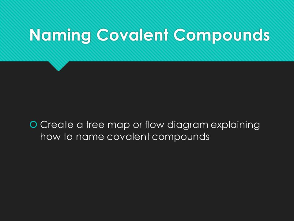 Naming Covalent Compounds  Create a tree map or flow diagram explaining how to name covalent compounds