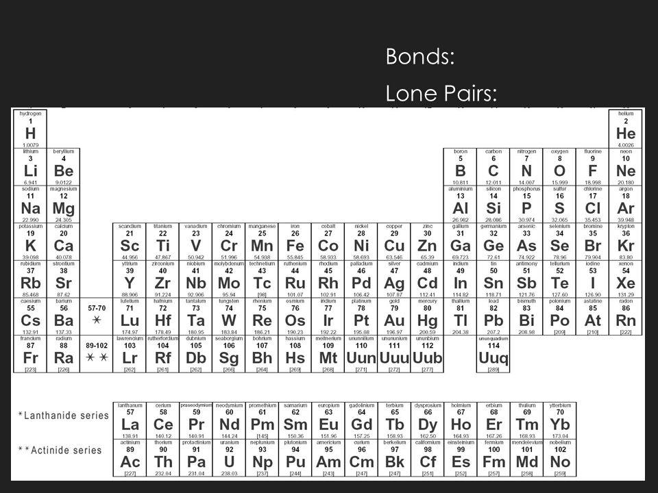 Bonds: Lone Pairs:
